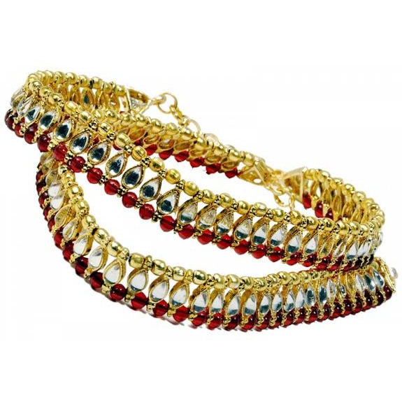 The Pari Red Alloy Anklet For Women