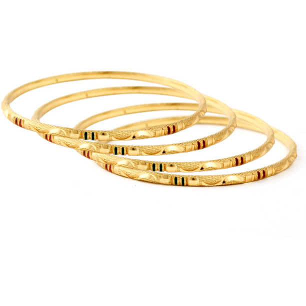 Ethnic Jewels Gold Brass Bangle Set For Women