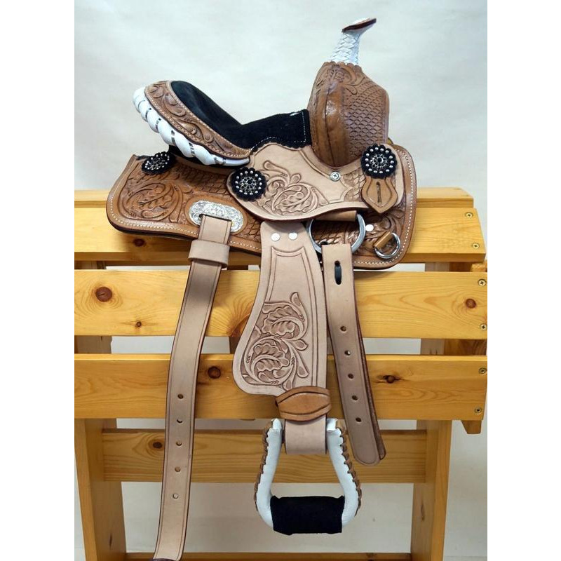 New Pure Leather hand carved Youth Child Kids  Pony Western Pleasure Trail Horse Saddle Tack (Color:NATURAL, Size:10 INCHES)