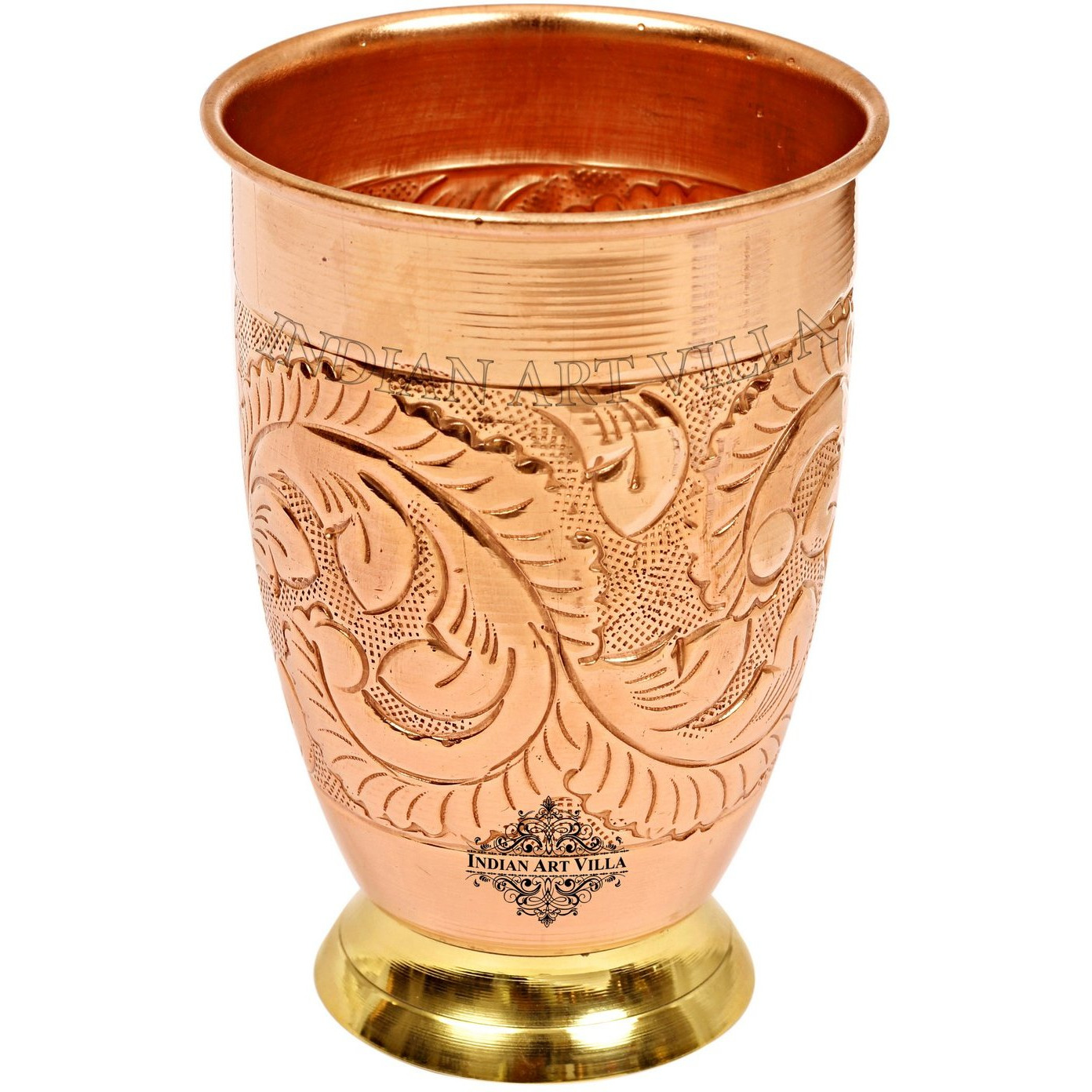 IndianArtVilla Copper Embossed Design Glass Tumbler With Brass Bottom 15 Oz