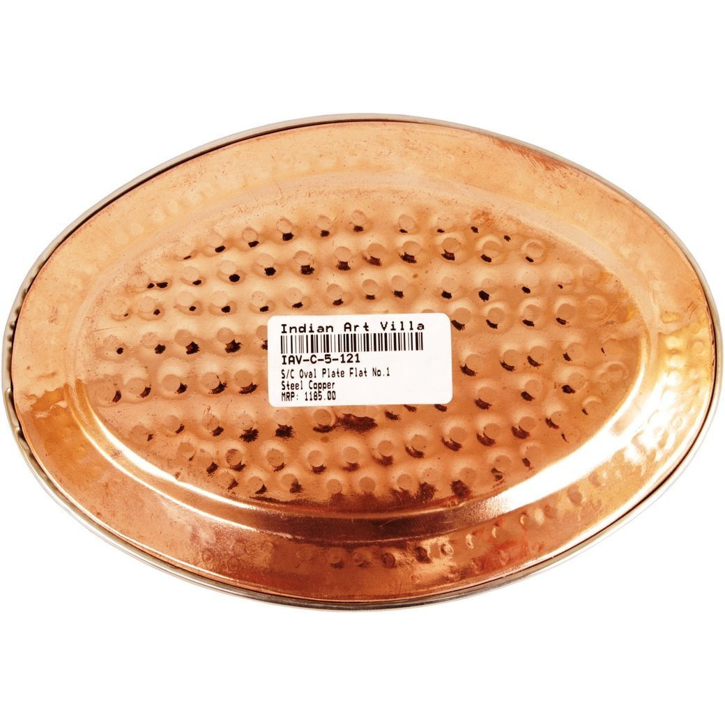 IndianArtVilla Steel Copper Oval Plate Flat- 8 Length