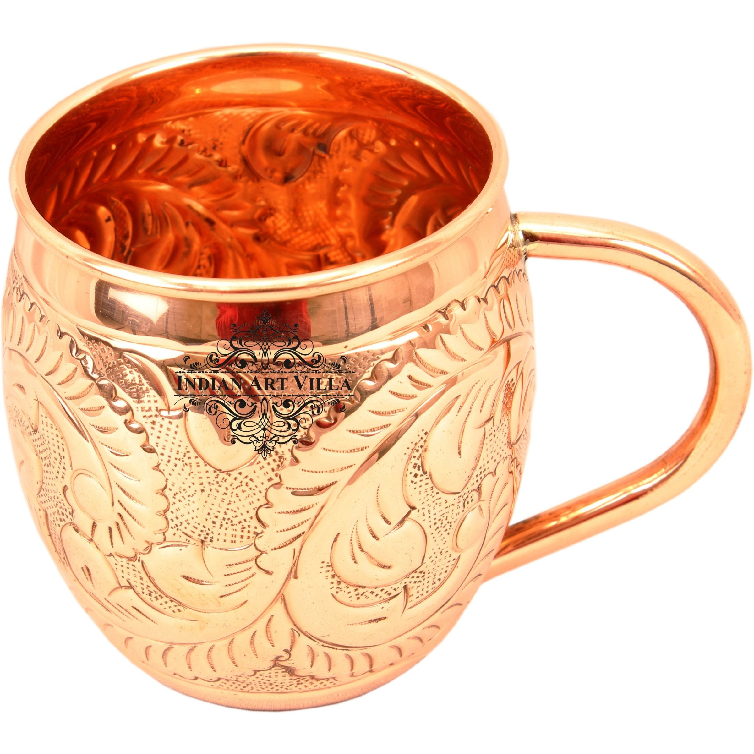 Indian Art Villa Copper Round Flower Design Mug 15 Oz