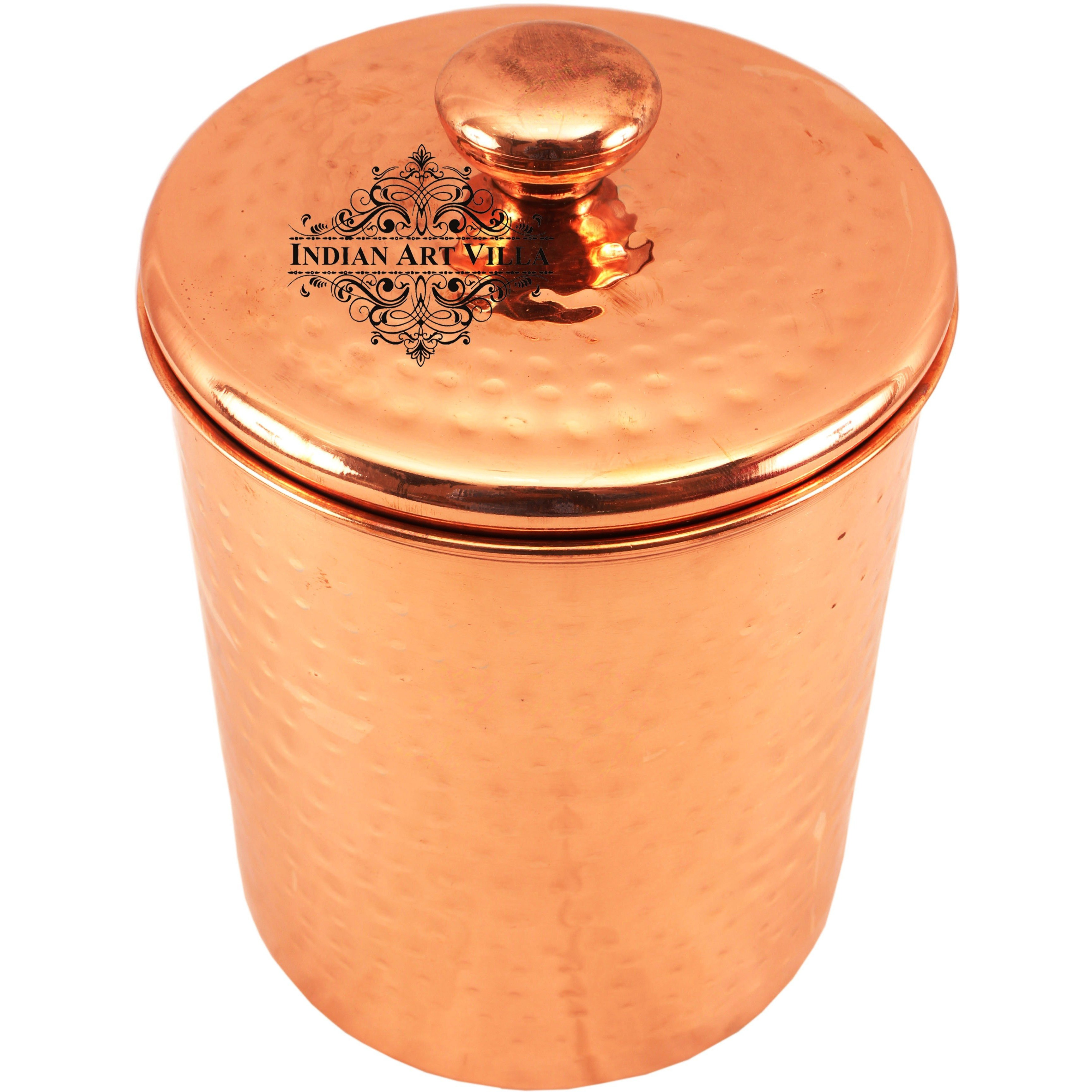 Indian Art Villa Steel Copper Plated Storage Box with Lid 72 Oz