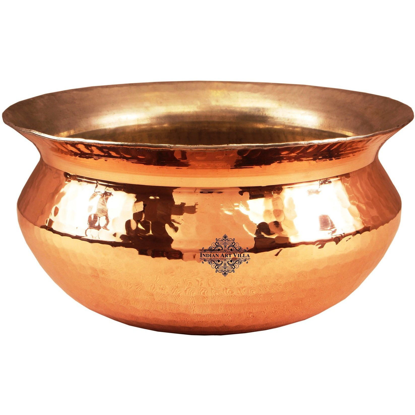 Indian Art Villa Copper Hammered Handi with Inside Tin Lining 8.6 inch Dia