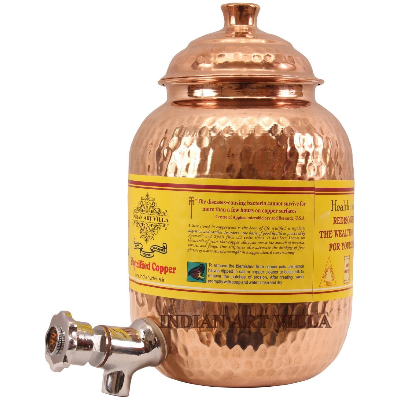 IndianArtVilla Copper Hammered Joint Free Water Pot Container & Tap 67 OZ