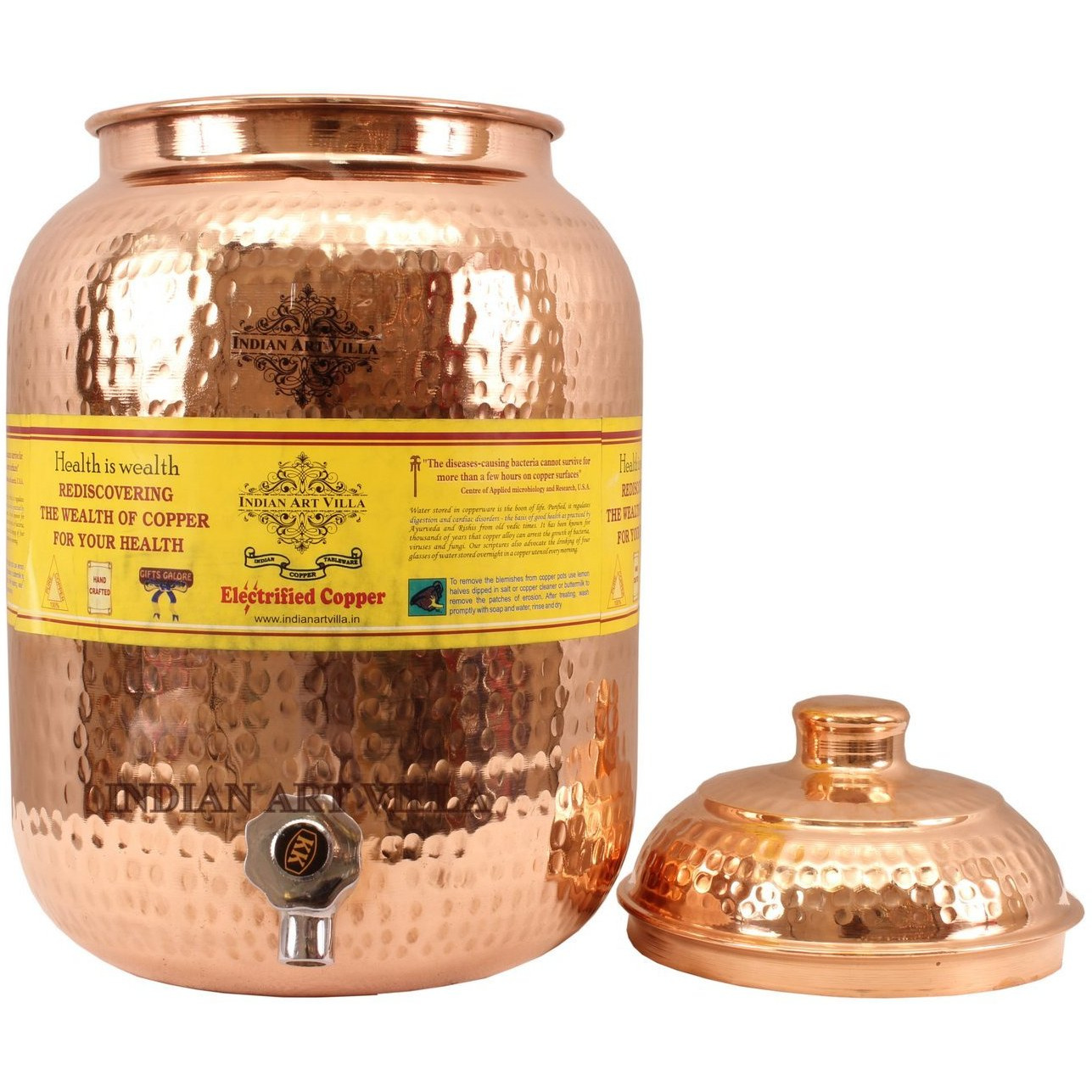 IndianArtVilla Copper Hammered Joint Free Water Pot Container & Tap 270 OZ
