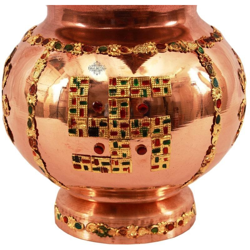 IndianArtVilla Copper Decorative Mangal Kalash With Coconut- 9  Inch Height