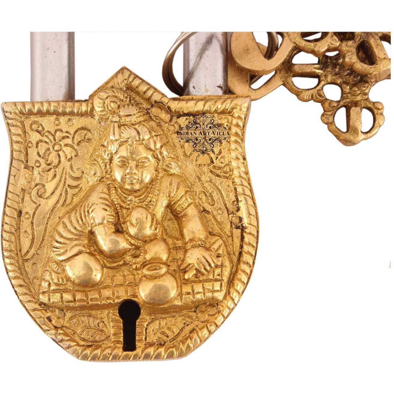 IndianArtVilla Brass Vintage Style Laddu Gopal Ji Design chatar sword designer with 2 Keys