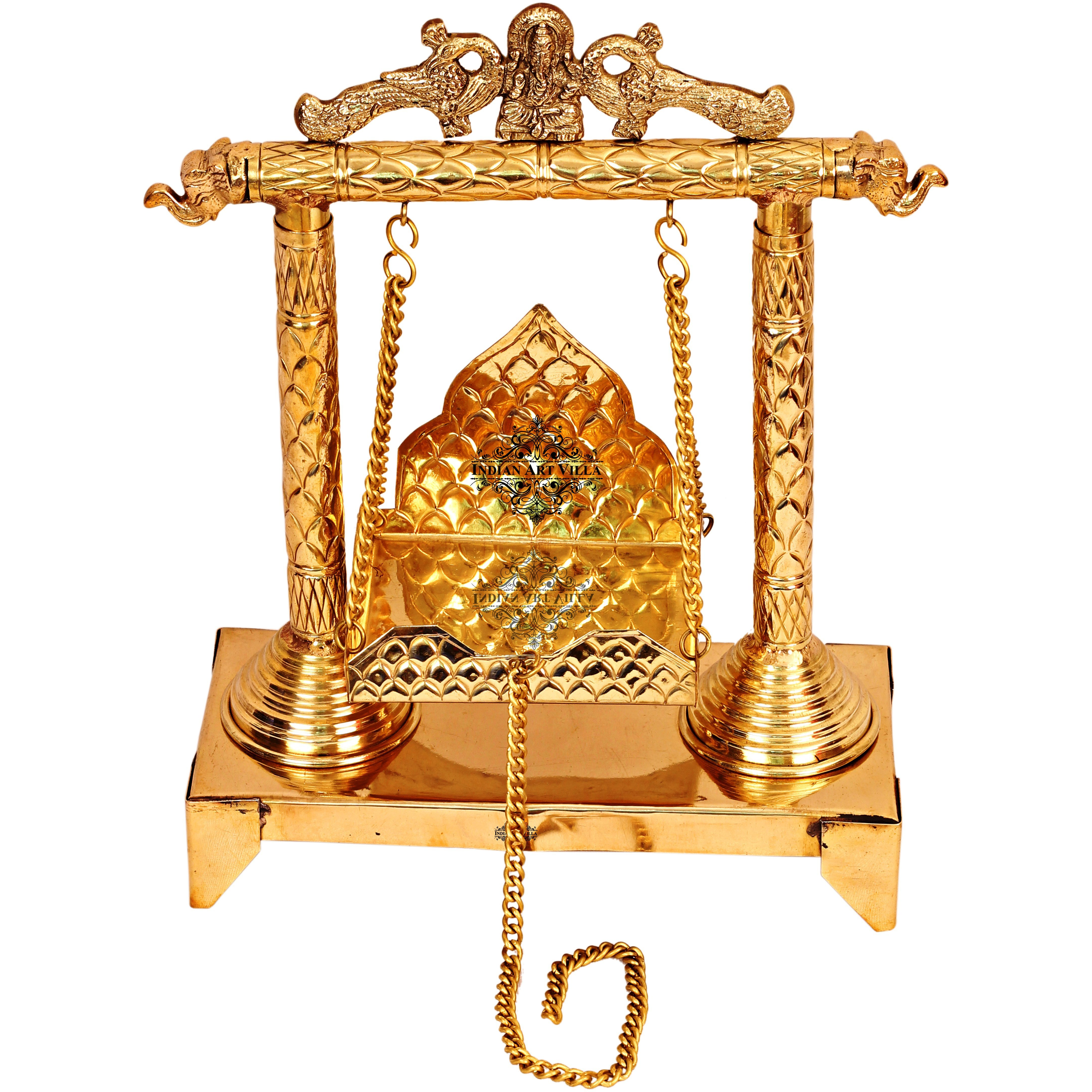 IndianArtVilla Ganesh Ji Design Brass Jhula Swing for Ladu Gopal Ji Lord Ganesha