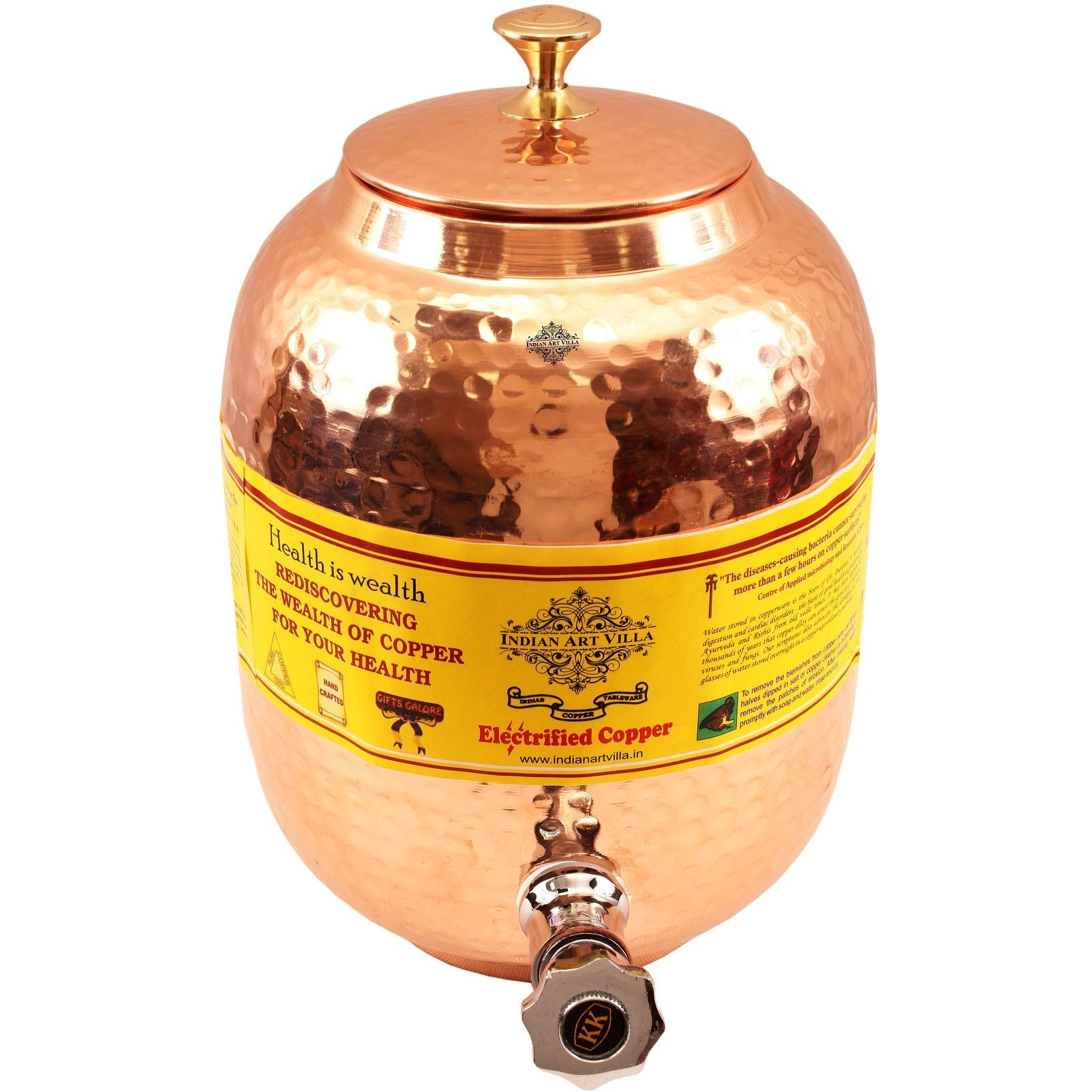IndianArtVilla Copper Water Dispenser Container Pot(Brass Lid), 167Oz