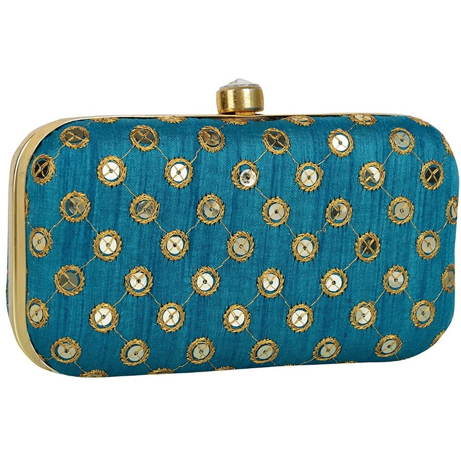 Tooba Handicraft Women's Clutch (Blue, Light Blue Big Sequence 7X4)