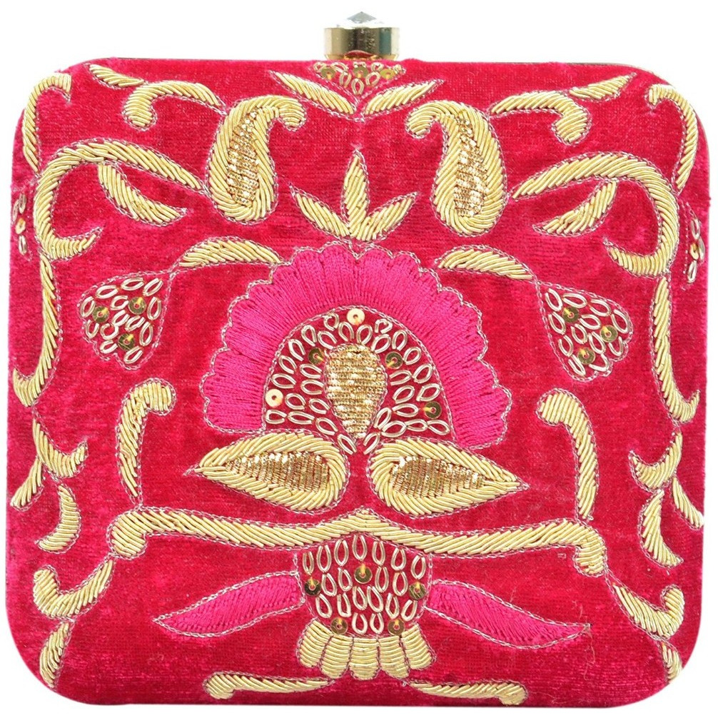 Tooba Handcrafted REDM Women's Box Clutch (Red)