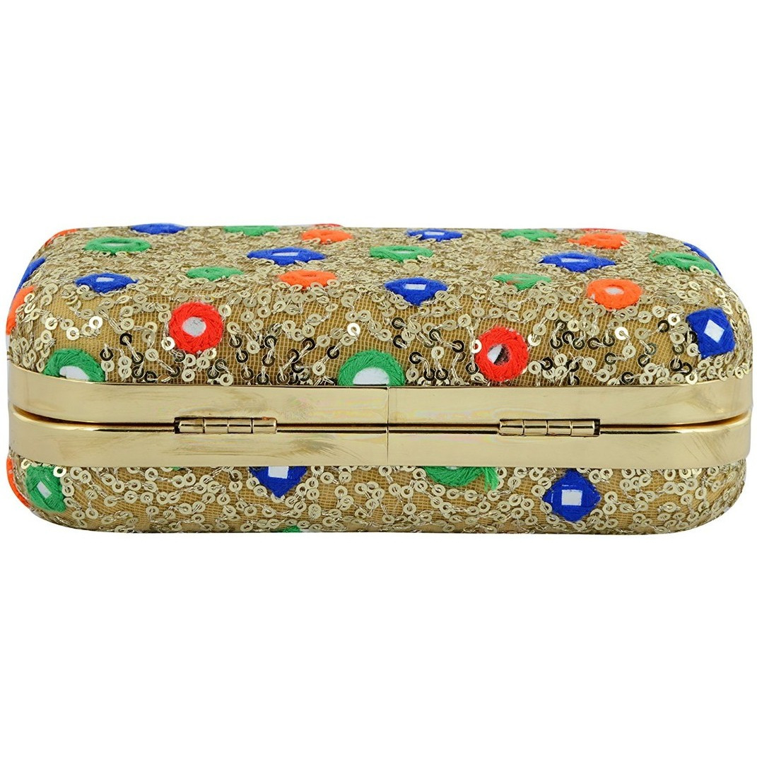 Tooba Handicraft Women's Clutch(gold khichdi mirror 6x4_1)