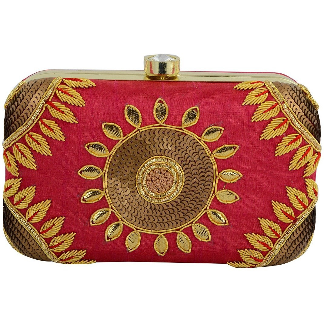 Tooba Handicraft Women's Clutch(rani gotta patti carrom 6x4)