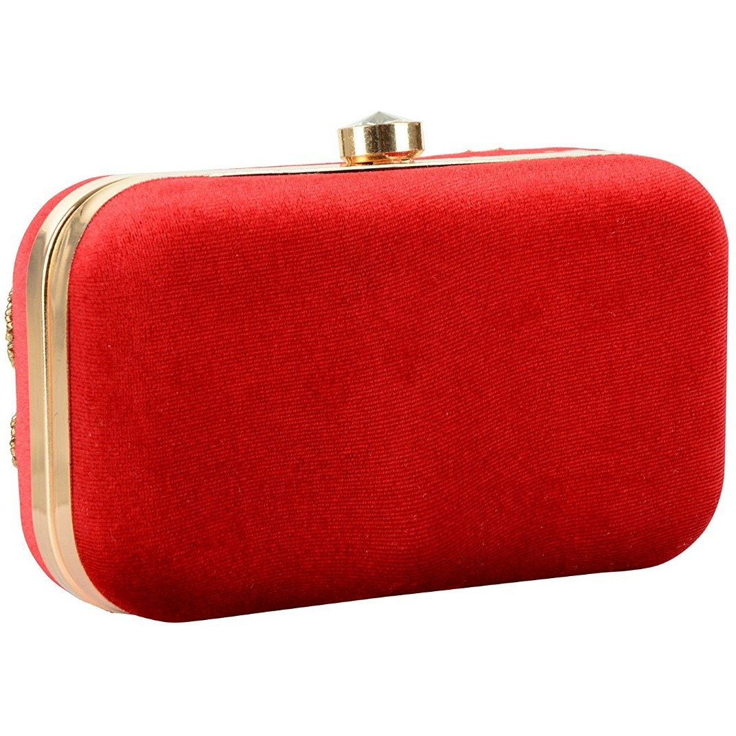Tooba Handicraft Women's Clutch(red three carry 6x4)