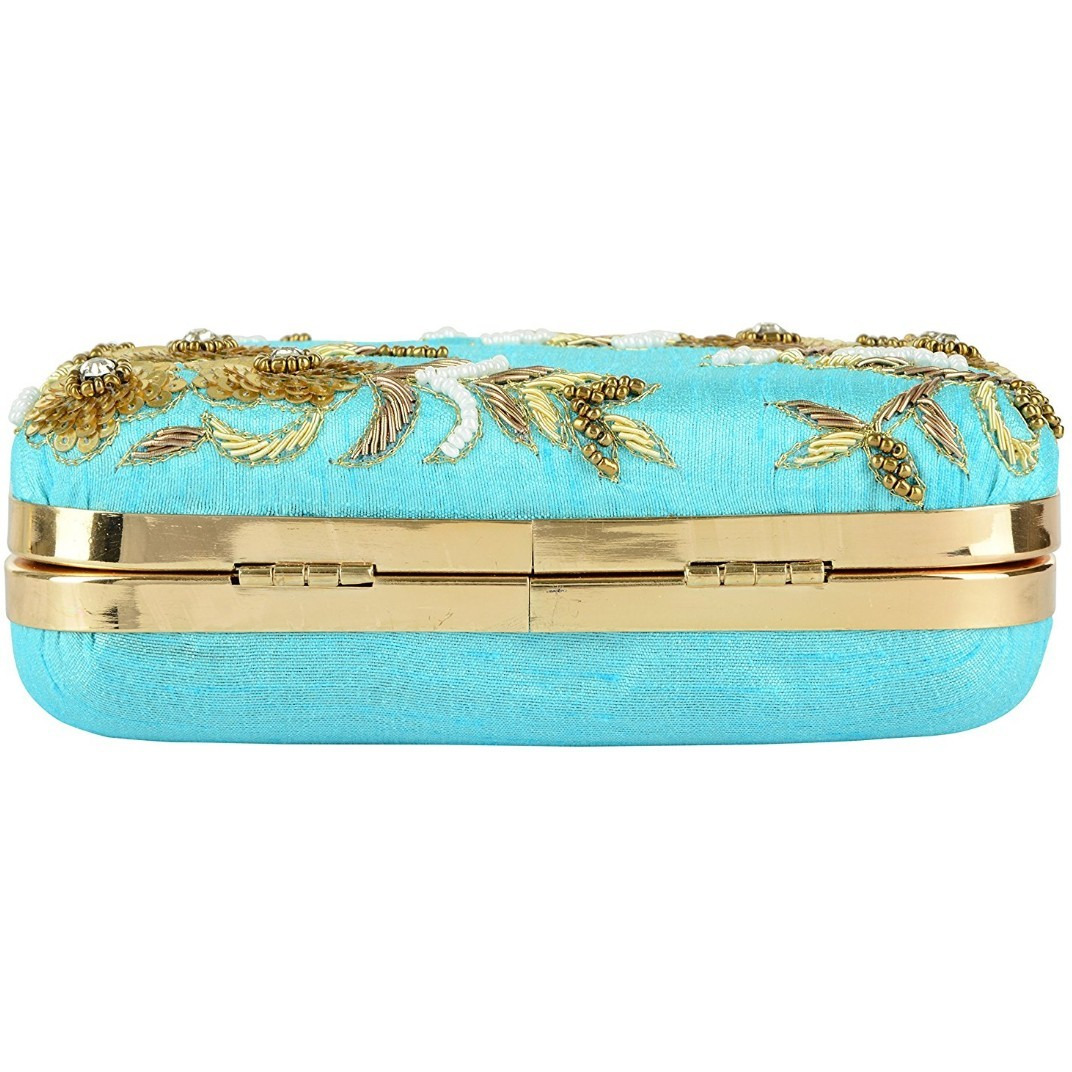 Tooba Handicraft Women's Clutch(sky blue 6 flowers 6x4)