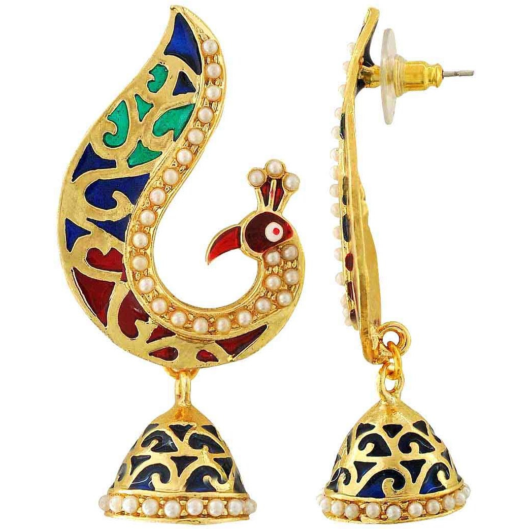 Maayra Meenakari Peacock Earrings Multicolour Dangler Drop Festive Traditional Earrings