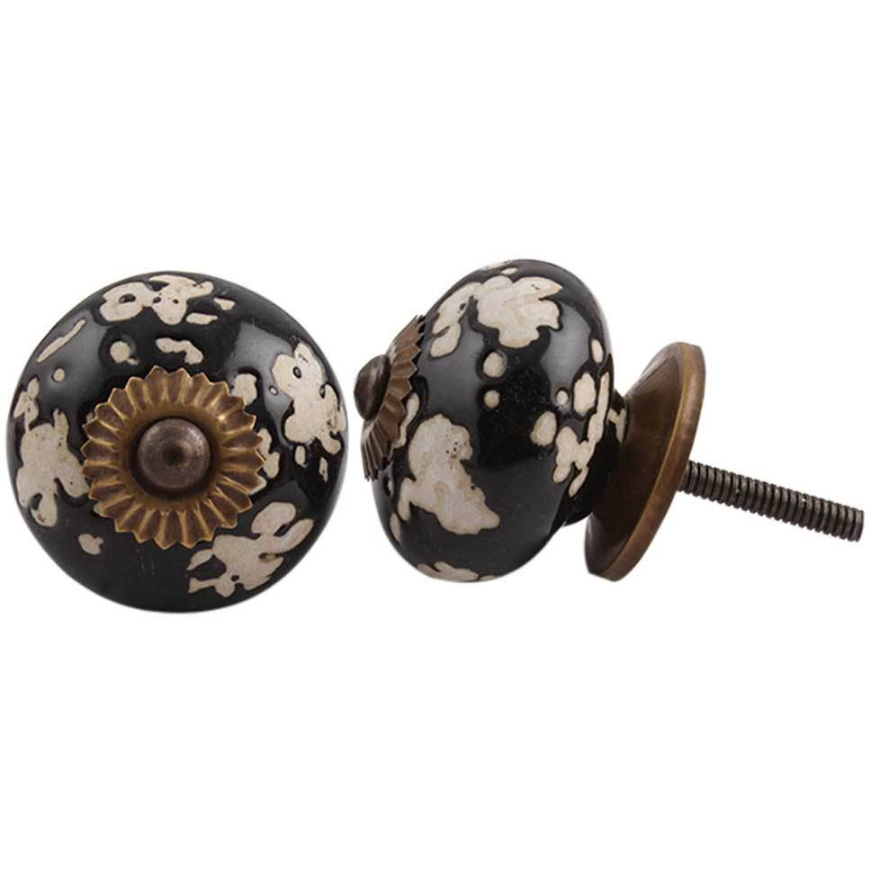 IndianShelf Handmade 10 Piece Ceramic Black Leaf Decorative Dresser Knobs/Cabinet Pulls