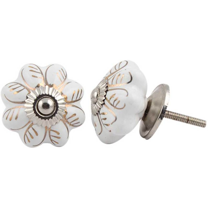 IndianShelf Handmade 10 Piece Ceramic White Leaf Melon Decorative Dresser Knobs/Cabinet Pulls