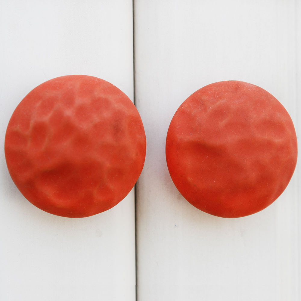 IndianShelf Handmade 10 Piece Ceramic Red Solid Artistic Designer Drawer Knobs/Cabinet Pulls