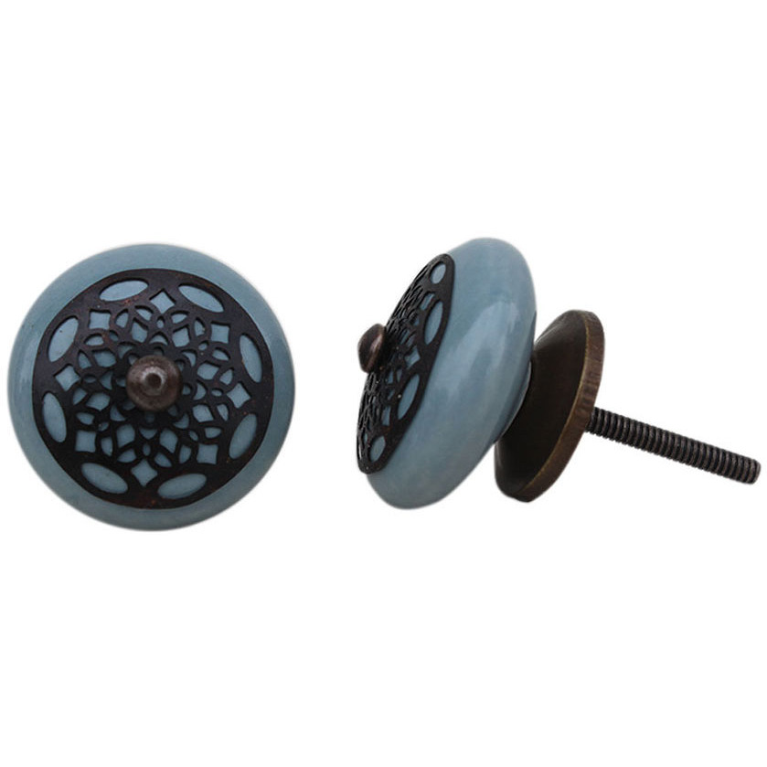 IndianShelf Handmade 10 Piece Ceramic Grey Strewn Flat Decorative Dresser Knobs/Cabinet Pulls