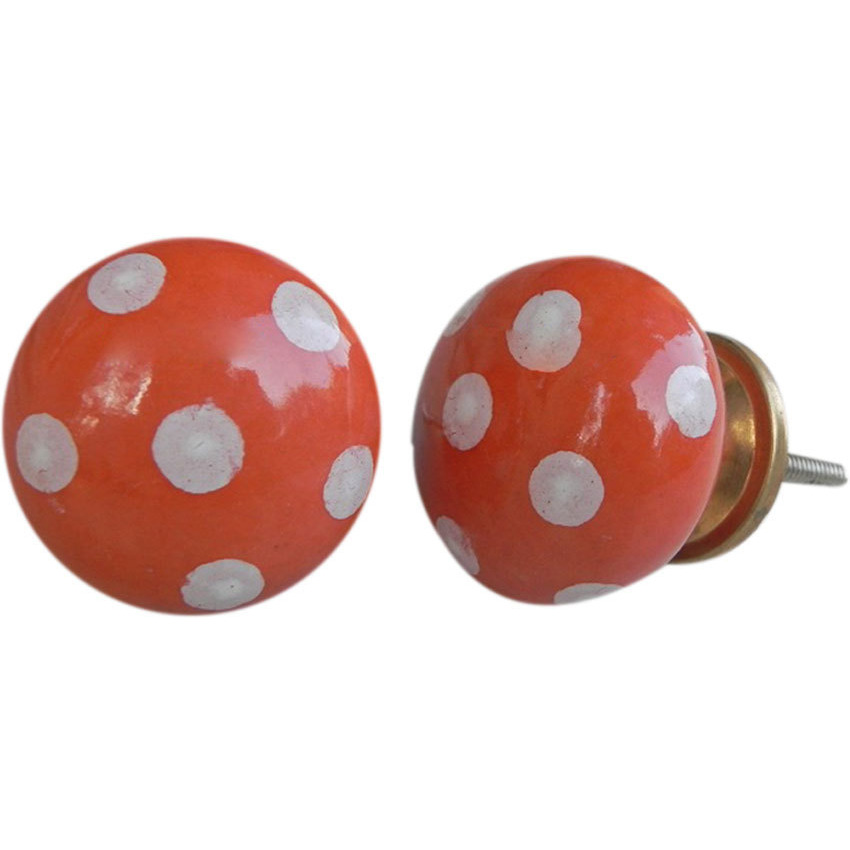 IndianShelf Handmade 10 Piece Ceramic Orange Polka Dot Flat Decorative Dresser Knobs/Cabinet Pulls