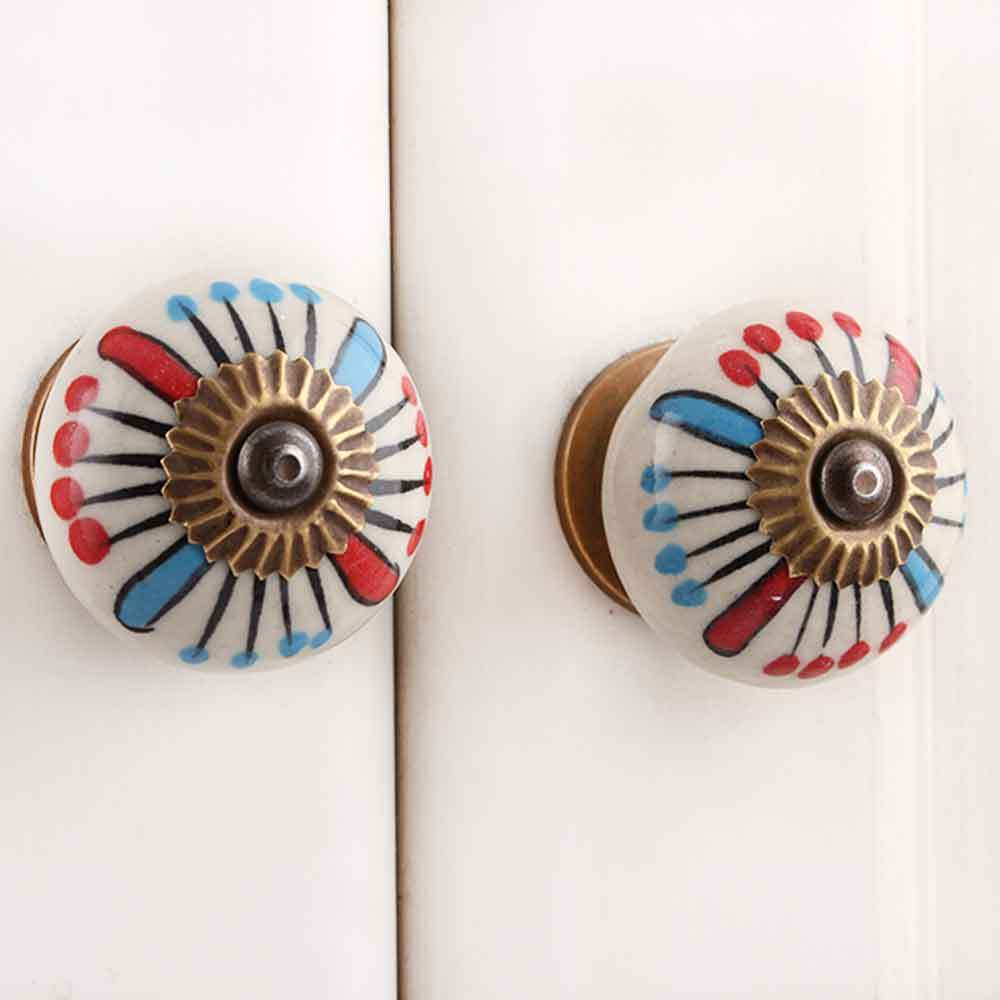 IndianShelf Handmade 10 Piece Ceramic Blue Flower Decorative Dresser Knobs/Cabinet Pulls