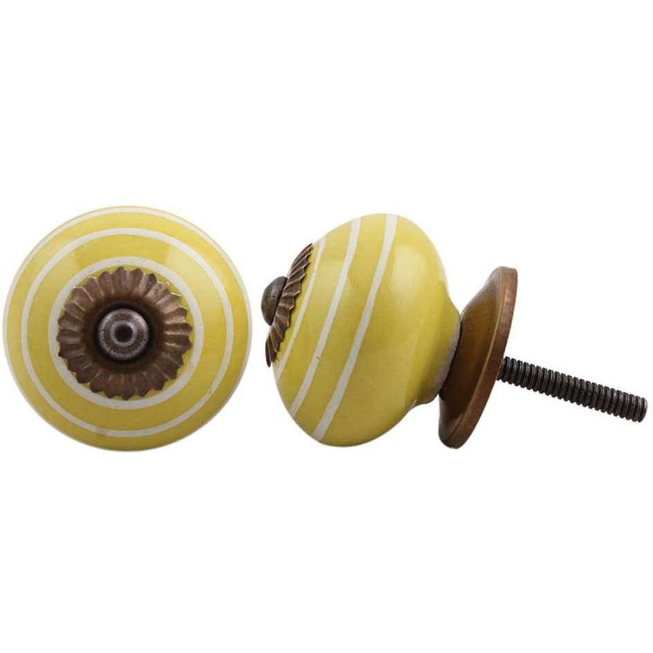 IndianShelf Handmade 10 Piece Ceramic Yellow Stripe Decorative Dresser Knobs/Cabinet Pulls