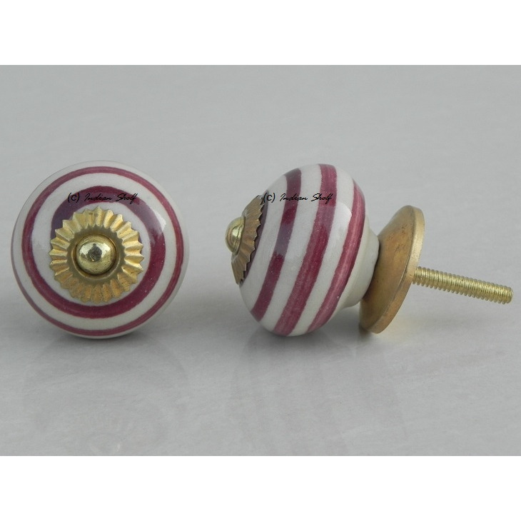 IndianShelf Handmade 12 Piece Ceramic Cherry Stripe Home Decor Dresser Knobs/Wardrobe Cabinet Pulls