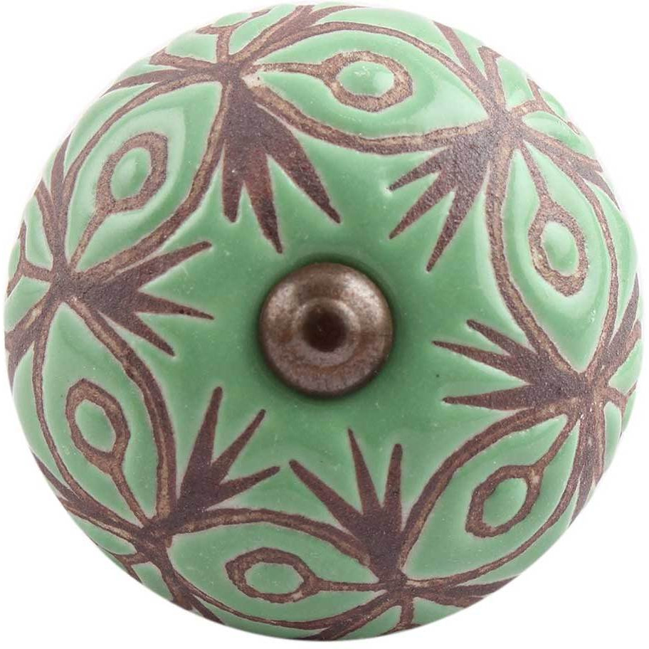 IndianShelf Handmade 20 Piece Ceramic Green Floral Etched Artistic Drawer Knobs/Cabinet Pulls