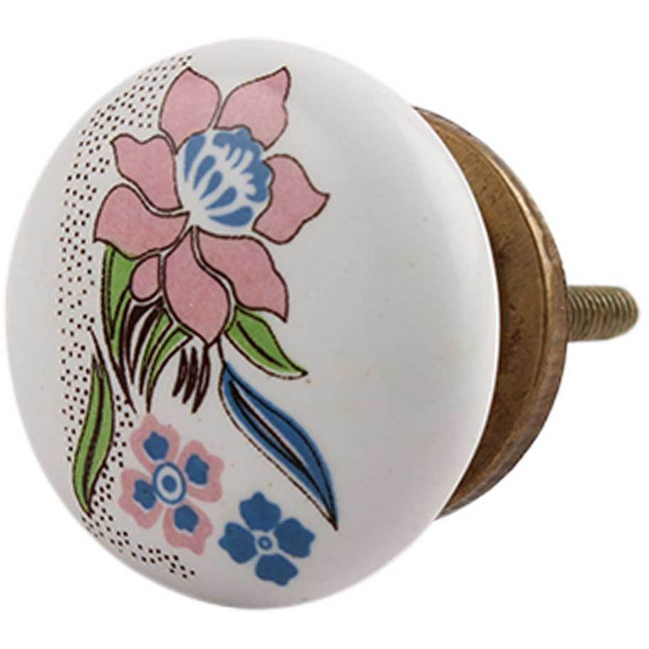 IndianShelf Handmade 20 Piece Ceramic Multicolor Rose Flat Artistic Drawer Knobs/Cabinet Pulls