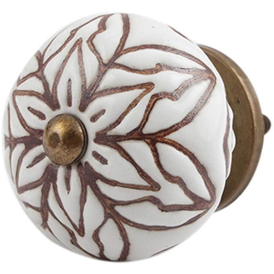 IndianShelf Handmade 20 Piece Ceramic Brown Amarylis Floral Etched Artistic Drawer Knobs/Cabinet Pulls