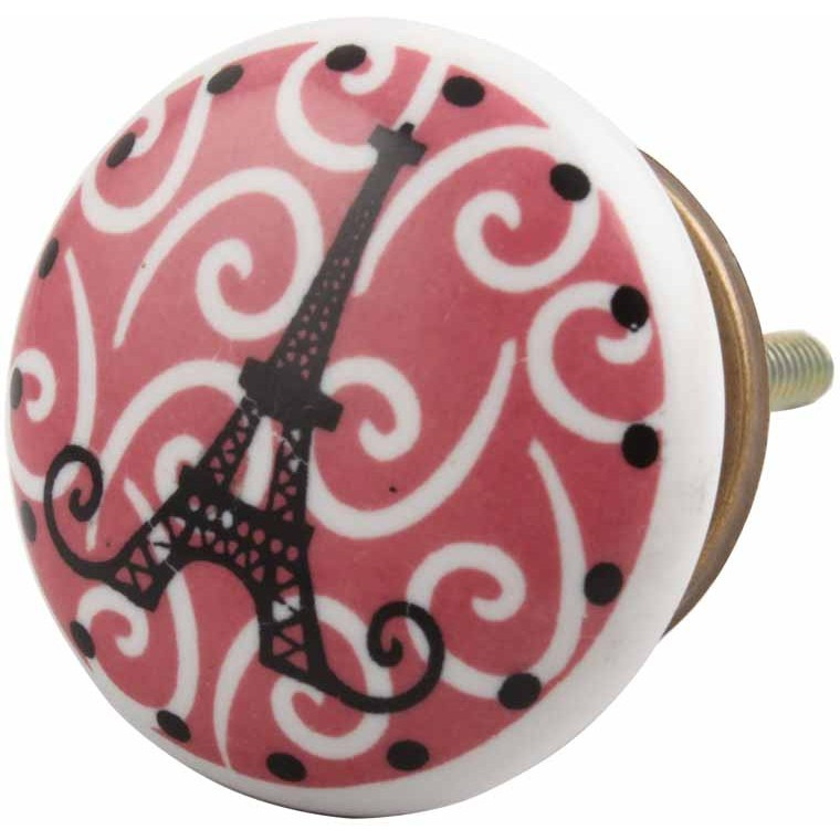 IndianShelf Handmade 20 Piece Ceramic Pink Paris Eiffel Tower Flat Kid Artistic Drawer Knobs/Cabinet Pulls
