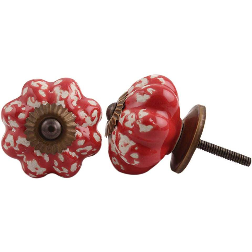 IndianShelf Handmade 20 Piece Ceramic Red Etched Melon Artistic Drawer Knobs/Cabinet Pulls