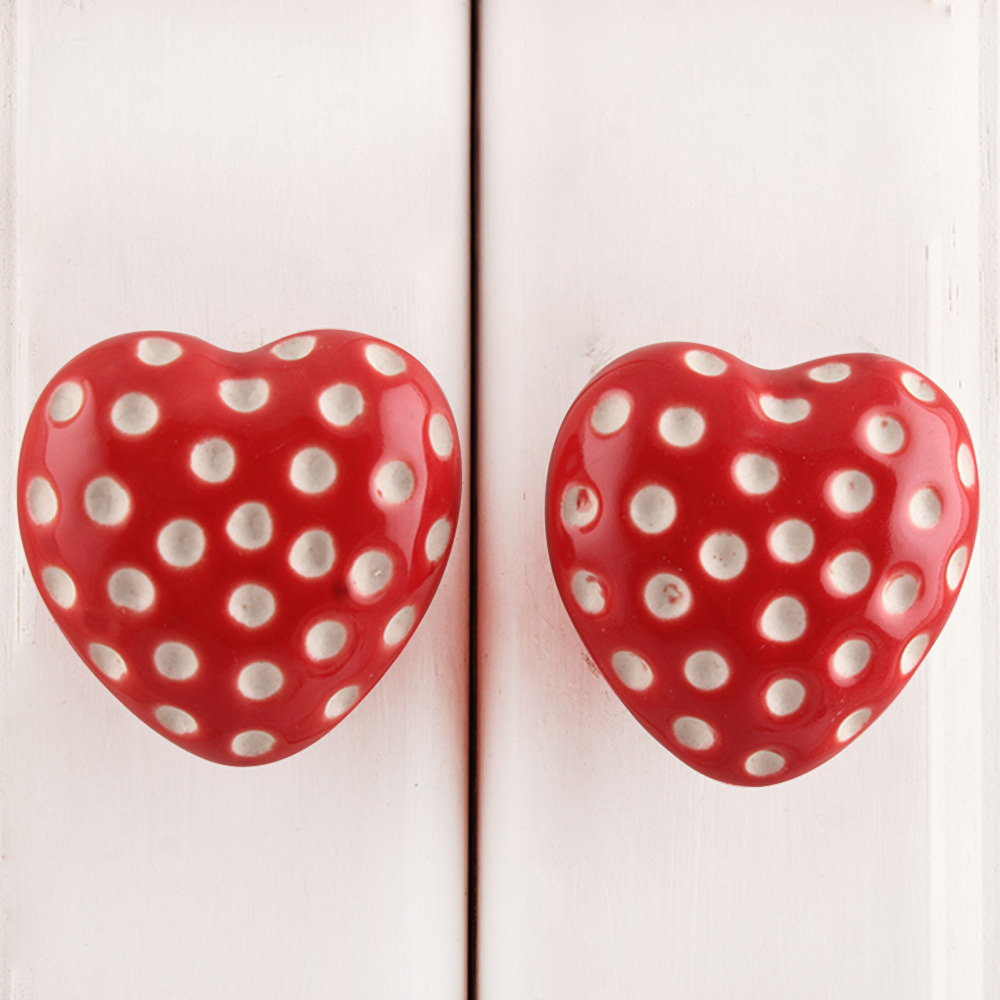 IndianShelf Handmade 20 Piece Ceramic Red Heart Etched Artistic Drawer Knobs/Cabinet Pulls