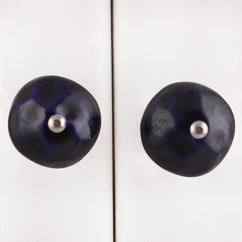 IndianShelf Handmade 20 Piece Ceramic Blue Round Solid Artistic Drawer Knobs/Cabinet Pulls