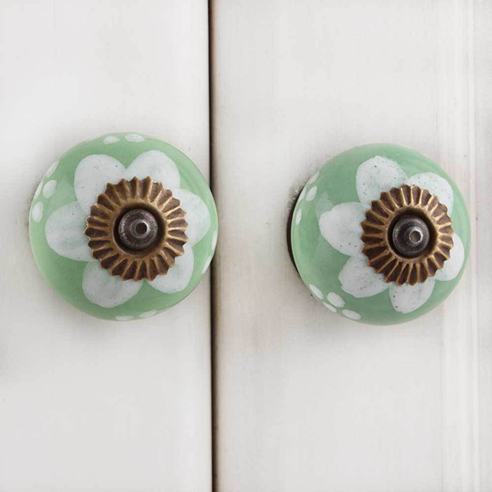IndianShelf Handmade 20 Piece Ceramic Green Floral Artistic Drawer Knobs/Cabinet Pulls
