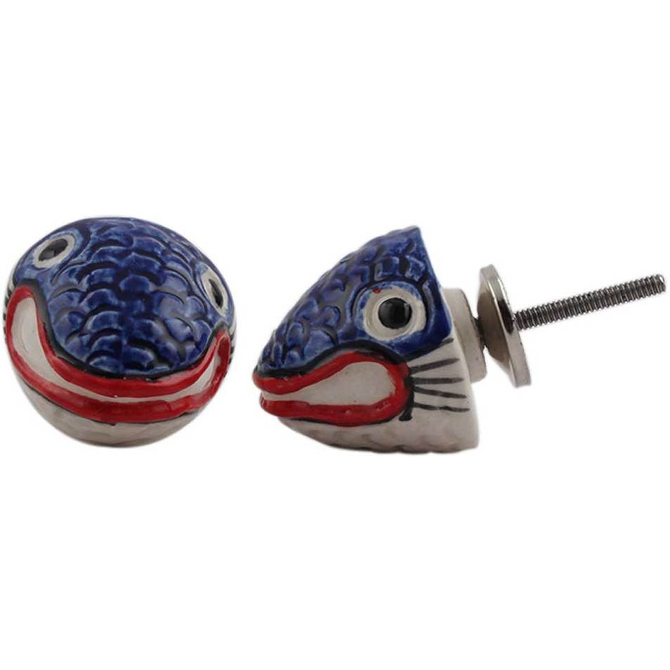 IndianShelf Handmade 20 Piece Ceramic Multicolor Fish Fauna Artistic Drawer Knobs/Cabinet Pulls