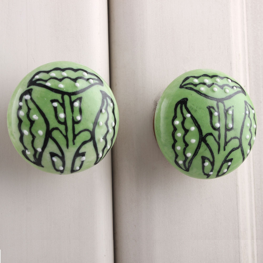 IndianShelf Handmade 20 Piece Ceramic Green Columbine Flower Flat Artistic Drawer Knobs/Cabinet Pulls