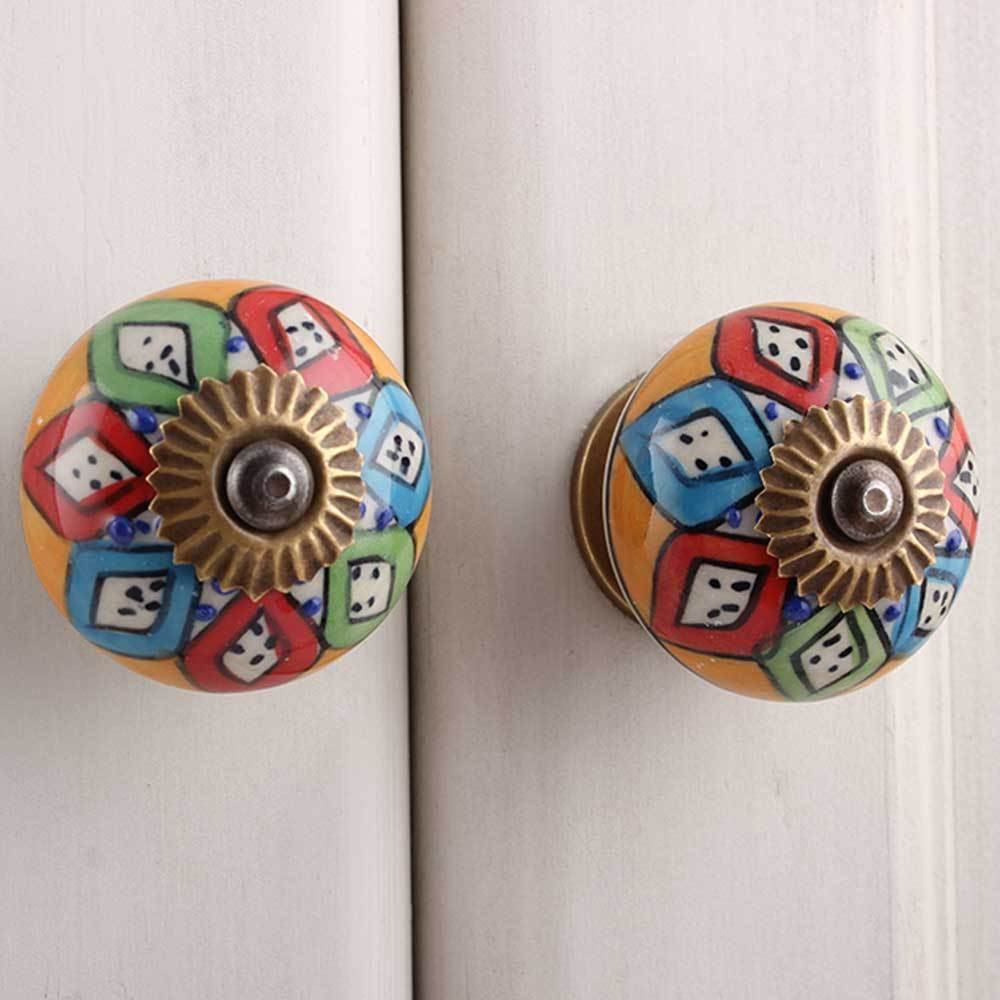 IndianShelf Handmade 20 Piece Ceramic Multicolor Floral Round Artistic Drawer Knobs/Cabinet Pulls