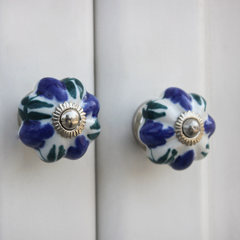 IndianShelf Handmade 20 Piece Ceramic Blue Floral Artistic Drawer Knobs/Cabinet Pulls