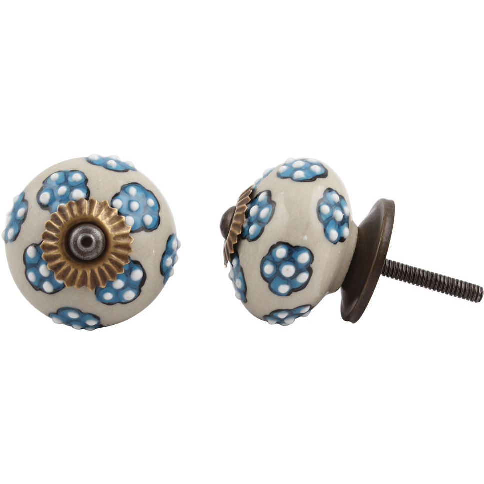 IndianShelf Handmade 20 Piece Ceramic Turquoise Tiny Floral Artistic Drawer Knobs/Cabinet Pulls