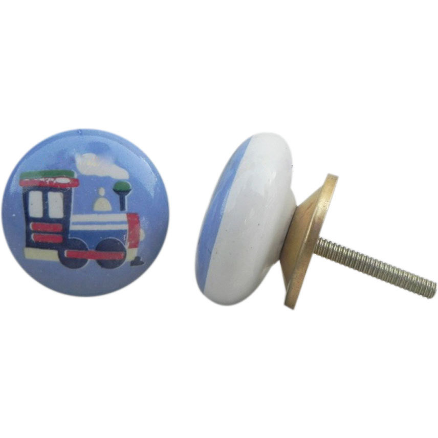 IndianShelf Handmade 20 Piece Ceramic Multicolor Train Flat Kid Artistic Drawer Knobs/Cabinet Pulls