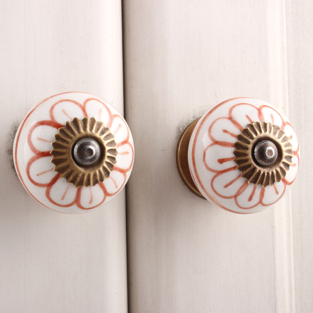 IndianShelf Handmade 20 Piece Ceramic Brown Flower Artistic Drawer Knobs/Cabinet Pulls