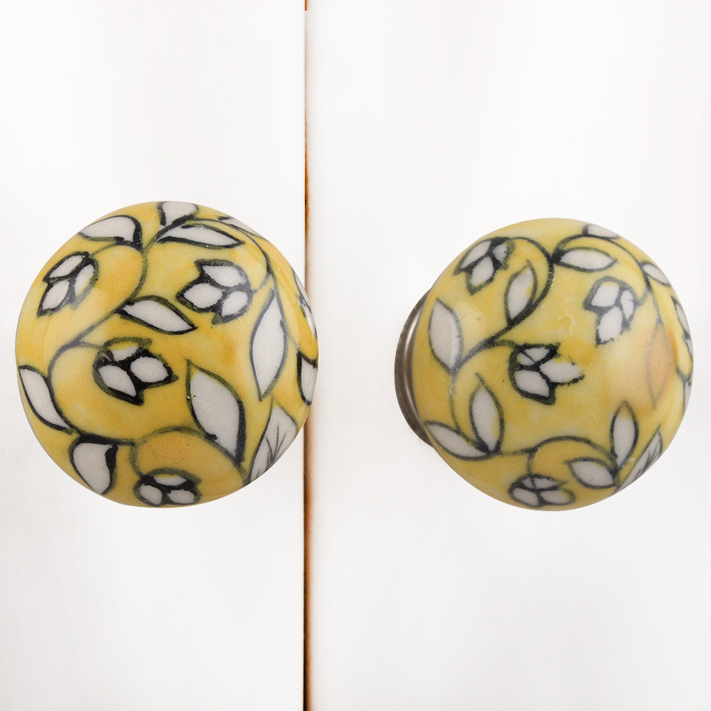 IndianShelf Handmade 20 Piece Ceramic Yellow Flat Artistic Drawer Knobs/Cabinet Pulls
