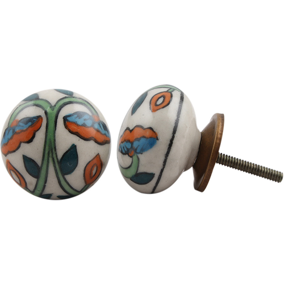 IndianShelf Handmade 20 Piece Ceramic Multicolor Flat Artistic Drawer Knobs/Cabinet Pulls