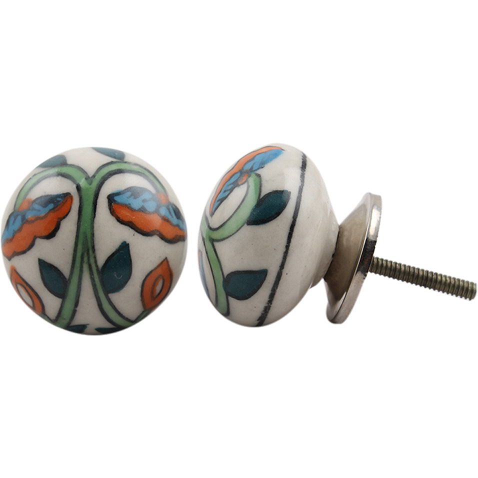IndianShelf Handmade 20 Piece Ceramic Multicolor Flat Decorative Room Drawer Knobs/Cabinet Door Pulls