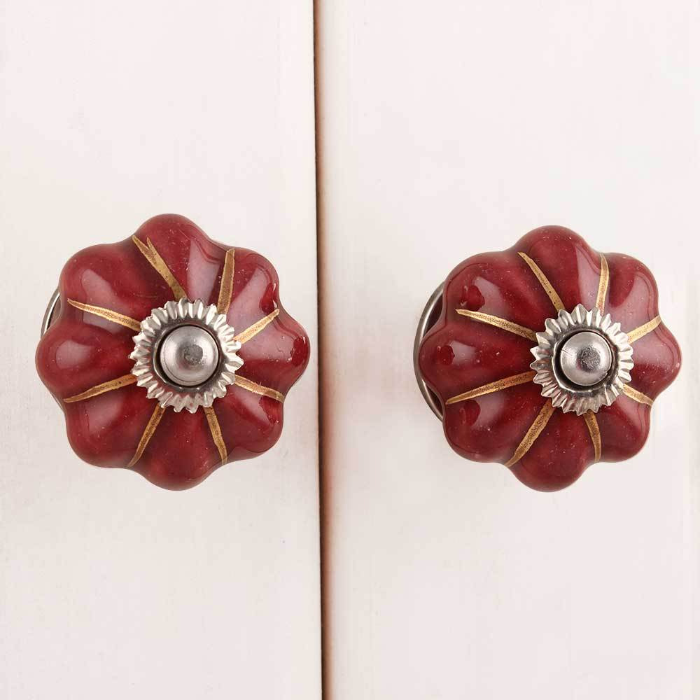 IndianShelf Handmade 20 Piece Ceramic Chocolate Solid Artistic Drawer Knobs/Cabinet Pulls