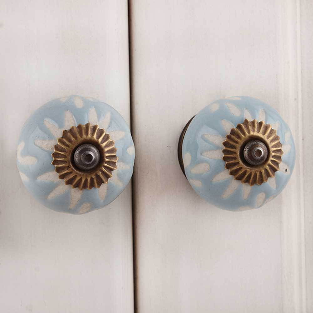 IndianShelf Handmade 20 Piece Ceramic Grey Etched Artistic Drawer Knobs/Cabinet Pulls