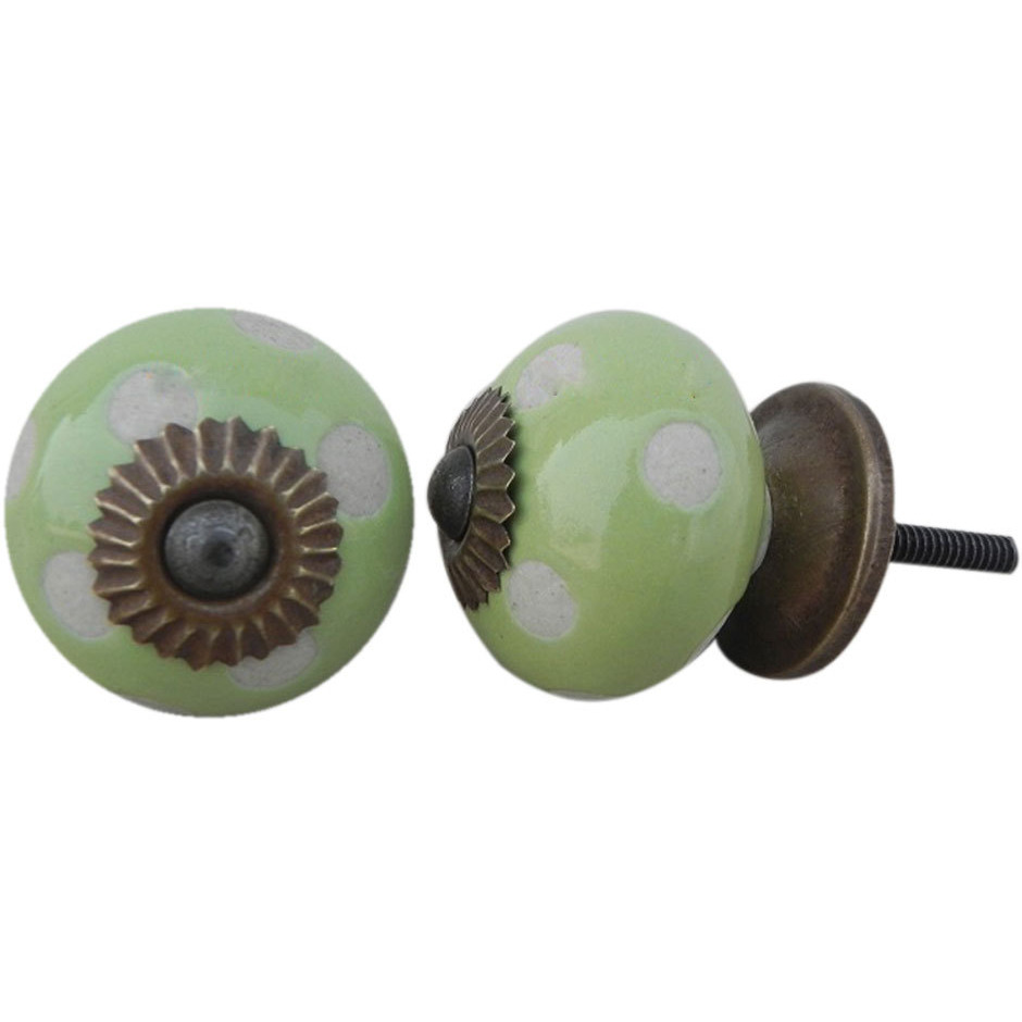IndianShelf Handmade 20 Piece Ceramic Green Etched Artistic Drawer Knobs/Cabinet Pulls